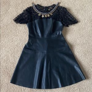 Zara Faux Leather Dress with Lace top M